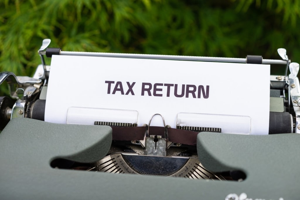 tax return on a typewriter